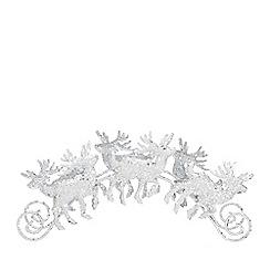 Home Collection - Sliver glitter reindeer tea light holder