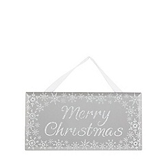 Home Collection - Silver 'Merry Christmas' hanging Christmas decoration