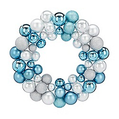Home Collection - Silver and blue bauble Christmas wreath