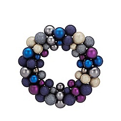 Home Collection - Multi-coloured midnight bauble Christmas wreath