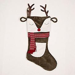 Sass & Belle - Multi-coloured reindeer face Christmas stockings