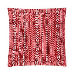 Home Collection - Red knitted fairisle cushion