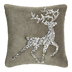 Home Collection - Silver reindeer jingle cushion