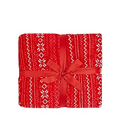 Home Collection - Red Fair Isle print fleece throw