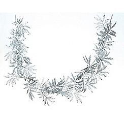 Festive - Silver glitter leaf Christmas garland