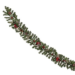 Festive - Green holly berry Christmas garland