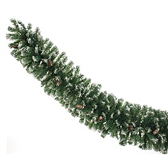 Festive - Green frosted Christmas garland with cones