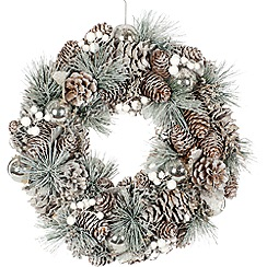 Festive - Silver cone glamour Christmas wreath