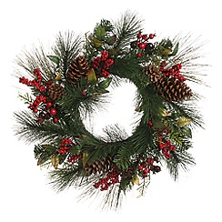 Festive - Red berry and cone Christmas wreath