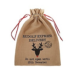 Home Collection - Brown reindeer Hessian Christmas sack