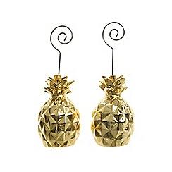Kaemingk - Pack of 2 gold pineapple card holders