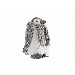 Kaemingk - Multi-coloured fluffy penguin Christmas figurine