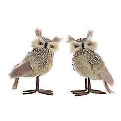 Kaemingk - Pack of 2 medium multi-coloured jewel embellished owl Christmas figurines