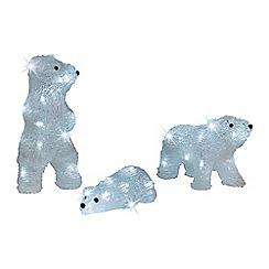 Kaemingk - Pack of 3 LED light bear family Christmas figurines