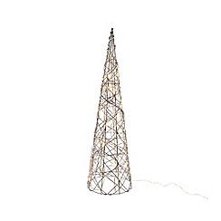 Kaemingk - Medium multi-coloured wicker LED light pyramid tree Christmas ornament