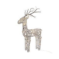Kaemingk - Large multi-coloured wicker LED light deer Christmas ornament