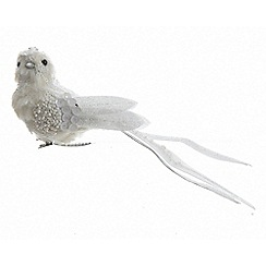 Kaemingk - White embellished bird Christmas clip