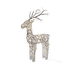 Kaemingk - Small multi-coloured wicker LED light deer Christmas ornament