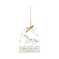 Sass & Belle - White unicorn 'Believe In The Magic' Christmas plaque