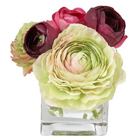 Grey Rose by Jane Packer - Lime Ranunculus flower arrangement in square vase