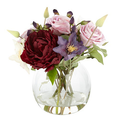 Debenhams - Purple mixed flower arrangement in glass bowl