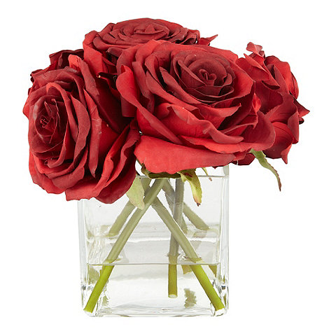 Debenhams - Red rose flowers in square vase