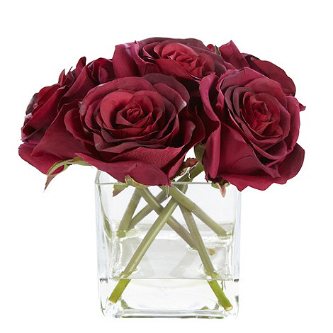 Debenhams - Purple rose flowers in a square vase