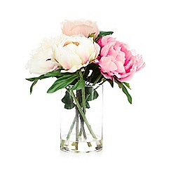 Debenhams - Pink vase of artificial peony flowers