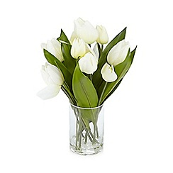 Debenhams - White vase of artificial tulips