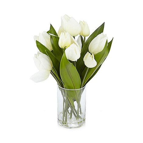 Debenhams White vase of artificial tulips | Debenhams