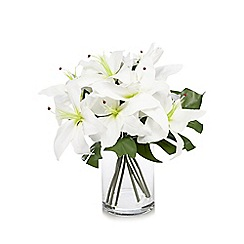 Debenhams - Bouquet of artificial tulip lilies in a glass vase