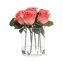 Debenhams - Pink vase of artificial roses