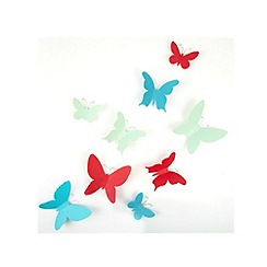 Umbra - Set of nine plastic butterfly wall decorations