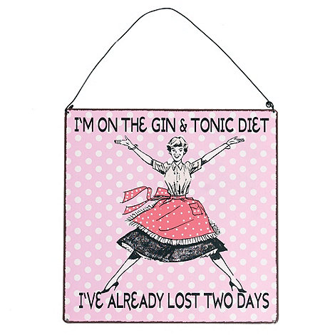 dotcomgiftshop - Bright pink +Gin & Tonic Diet+ sign
