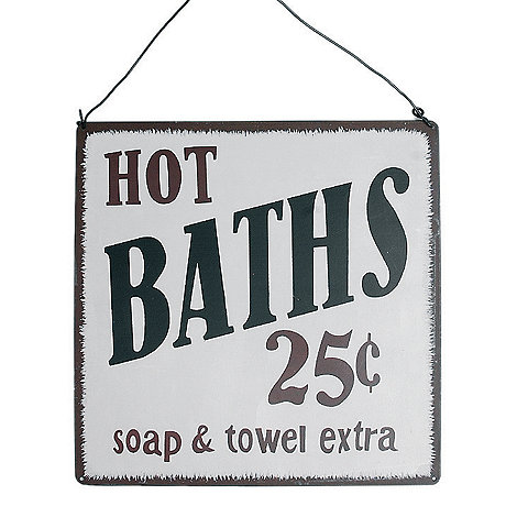 dotcomgiftshop - Cream 'Hot Bath' sign