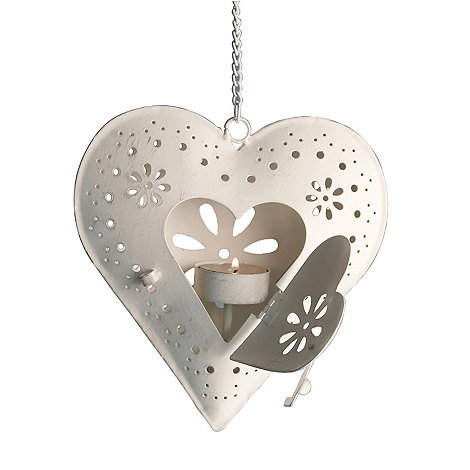 dotcomgiftshop - White hanging heart candle holder