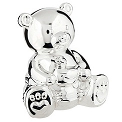 J by Jasper Conran - Silver plated teddy bear money box christening gift