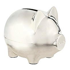 J by Jasper Conran - Silver plated pig money box christening gift