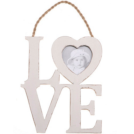 Sass & Belle - White +Love+ photo frame sign
