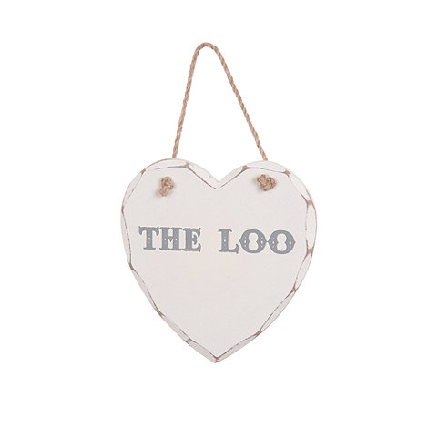 Sass & Belle - White +The Loo+ wooden sign