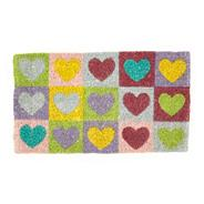 Multi coloured heart print doormat