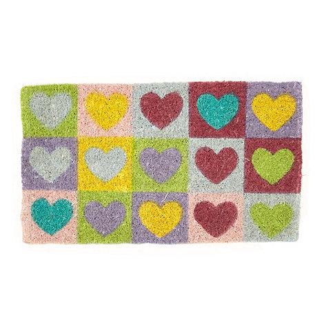 dotcomgiftshop - Multi coloured heart print doormat