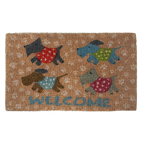 dotcomgiftshop - Beige puppies +Welcome+ doormat