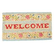 Turquoise floral 'Welcome' doormat