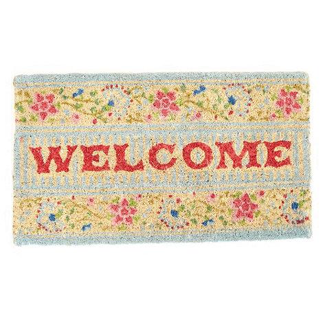 dotcomgiftshop - Turquoise floral +Welcome+ doormat