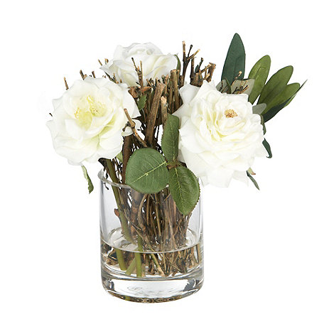 Home Collection - Rose flowers with twigs in glass vase