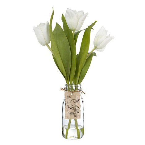 Debenhams - White tulip flowers in a glass vase