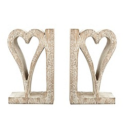 Debenhams - Hand carved wooden heart bookends