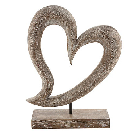 Debenhams - Hand carved wooden heart ornament