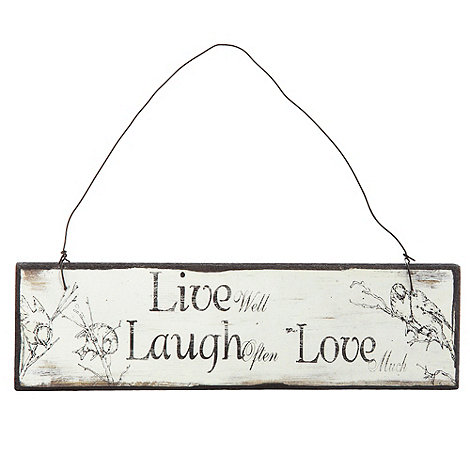 Heaven Sends - Off white +Live Laugh Love+ home hanging sign